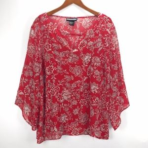 REQUIREMENTS Womans Red Gold Floral Blouse